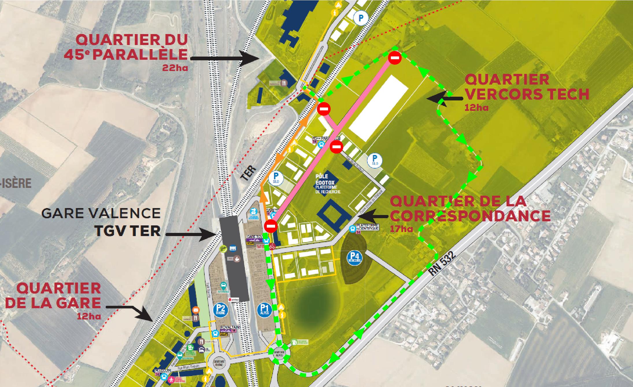 Travaux d'extension du parc d'activités de Valence TGV.