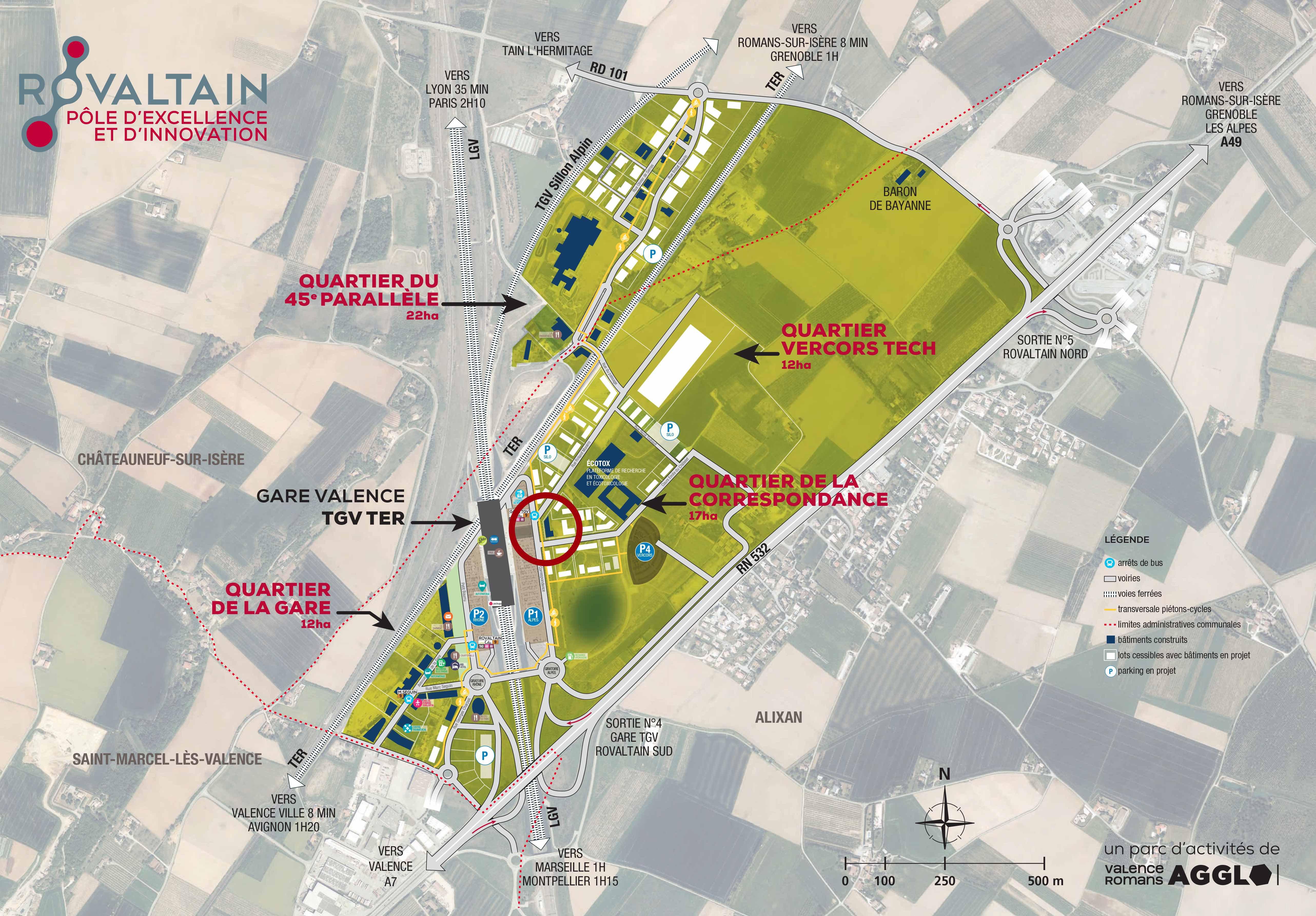 Localisation du M3, batiment tertiaire en front de gare Valence TGV, à Rovaltain