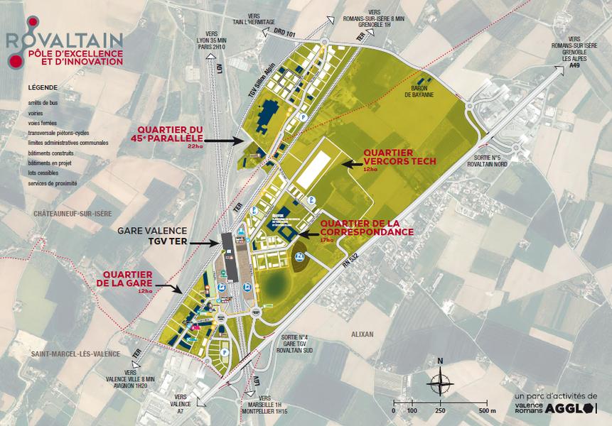 Plan des quartiers de Rovaltain. 4 quartiers pour accueillir des activités tertiaires, scientifiques et industrielles