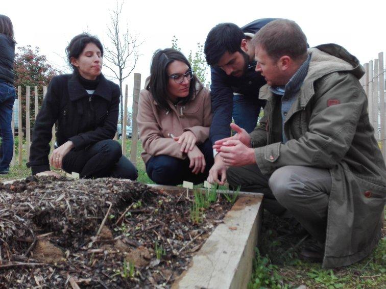 Atelier d'apprentissage à l'agroécologie sur le potager partagé de Rovaltain