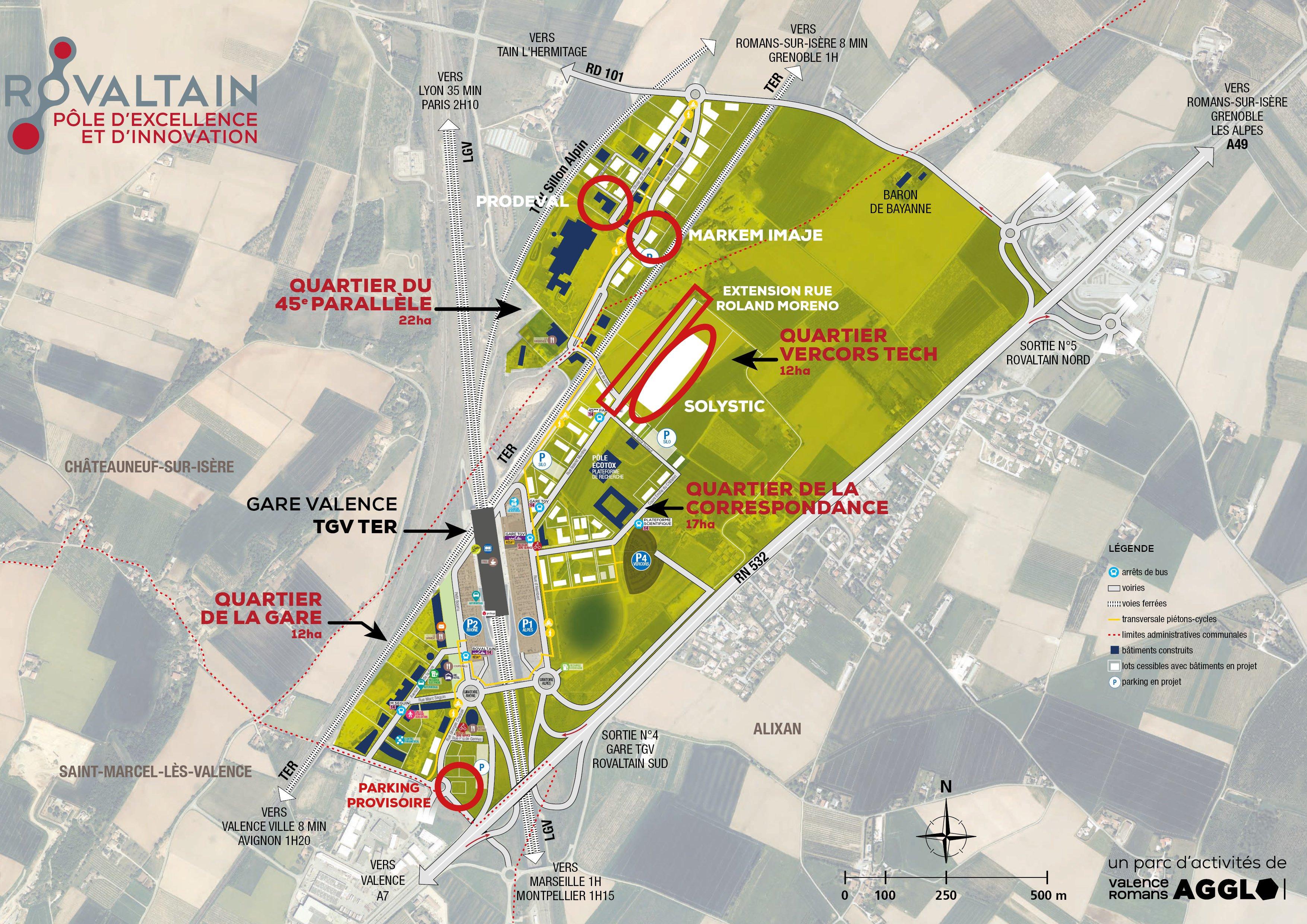 Plan des constructions en cours sle parc d'activités