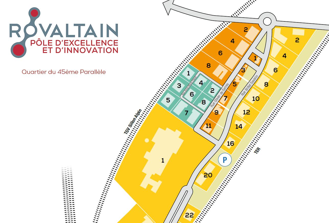 Plan du Quartier du 45ème Parallèle, à Rovaltain. Prodeval s'installera en face de son actuel bâtiment