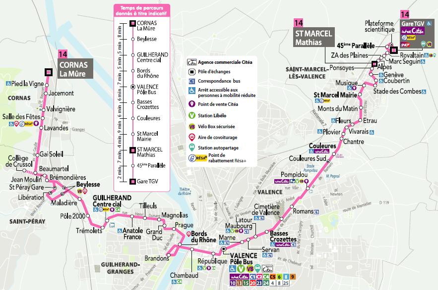 Ligne 14 de Citéa pour relier Rovaltain, l'Ardèche et Valence centre. 5 arrêts de bus à Rovaltain