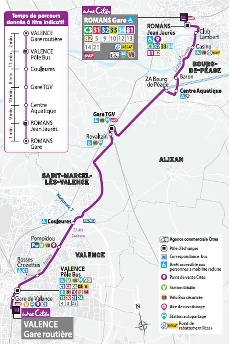 Trajet de la ligne de transport en commun interCitéa, qui passe par Rovaltain - Valence TGV