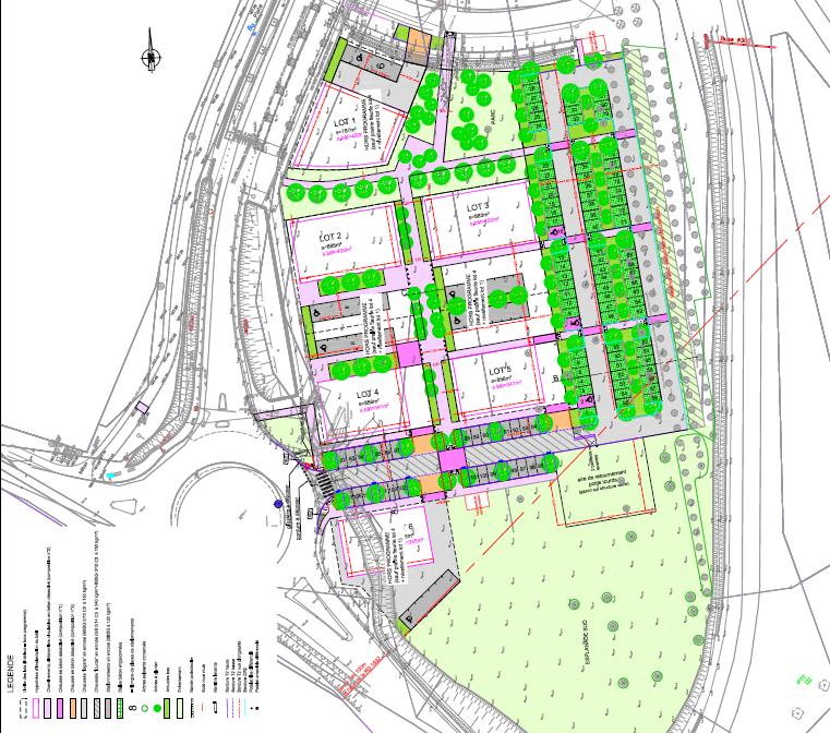 Plan du Quartier de la Gare, à Rovaltain Valence TGV. Lots pour implantations d'entreprises. Tertiaire et service.