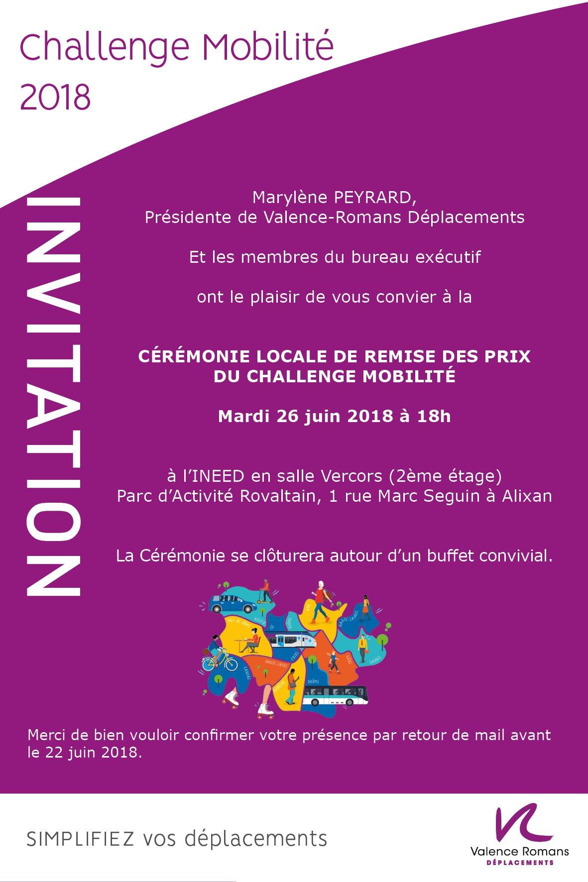Invitation de Valence Romans Déplacements à la Cérémonie locale